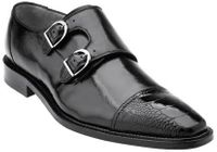 Belvedere Amico Mens Black Ostrich Trim Cap Toe 2 Buckle 1618