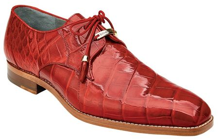 Belvedere Red Alligator Shoes Plain Toe Lago - click to enlarge