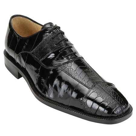 Belvedere Shoes Mare Black Eel Ostrich Skin Shoes 2P7 - click to enlarge