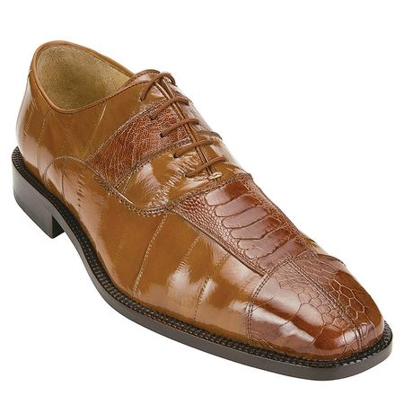 Belvedere Shoes Mare Camel Eel Ostrich Skin Shoes 2P7