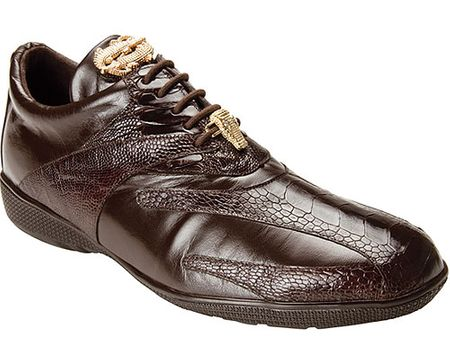 Belvedere Mens Brown Ostrich Leg Exotic Sneakers Bene - click to enlarge