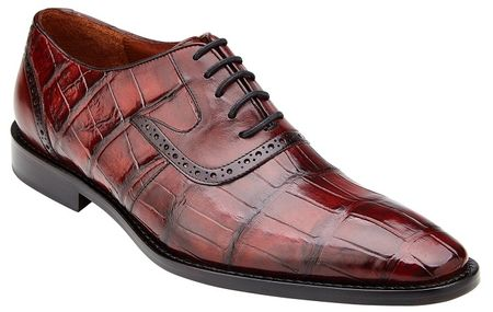 Belvedere Alligator Shoes Men Burgundy Wine Walter