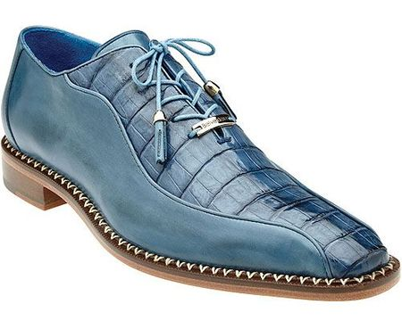 Belvedere Blue Crocodile Calfskin Shoes Bike Toe Gabriele