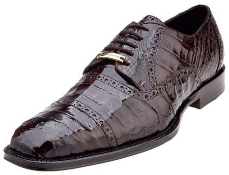 Belvedere Brown Crocodile Shoes Cap Toe Marcello 1493 - click to enlarge