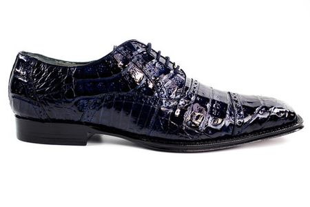 Belvedere Shoes Marcello Navy Blue Crocodile Cap Toe 1493 - click to enlarge