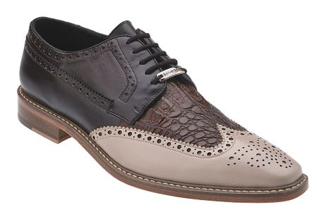 Belvedere Ciro Taupe Crocodile Italian Calf Wingtip Shoes 1616 - click to enlarge