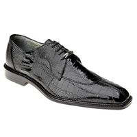 Belvedere Siena Mens Black Ostrich Leg Skin Shoes 1463