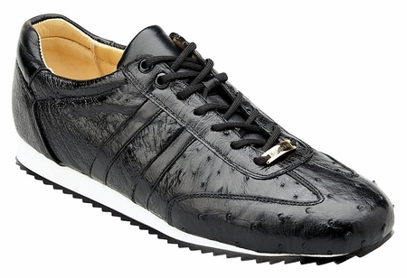 Belvedere Sneakers Mens Black Ostrich Skin Parker 6004 - click to enlarge