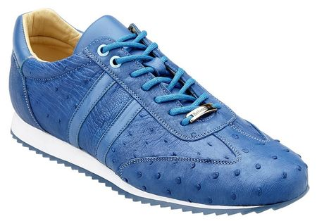 Belvedere Sneakers Mens Blue Ostrich Skin Parker 6004 - click to enlarge