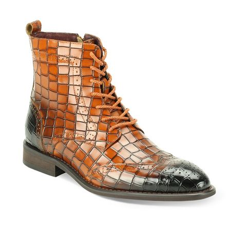 Giovanni Mens Tan Gator Print Leather Dress Boots Corbin - click to enlarge