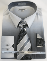 Big Men Dress Shirts with Ties Edgy Black Color Blend DE DS3795