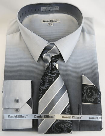 Big Men Dress Shirts with Ties Edgy Black Color Blend DE DS3795 - click to enlarge