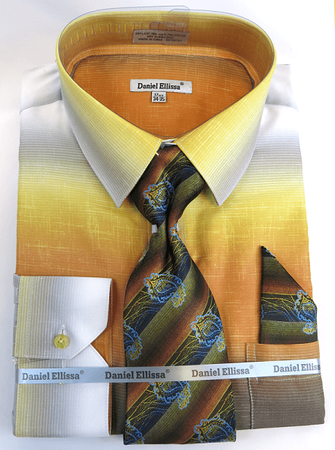Big Men Dress Shirts with Ties Edgy Mustard Color Blend DE DS3795 - click to enlarge