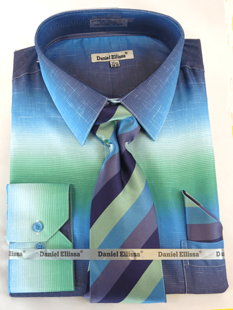 Big Men Dress Shirts with Ties Stylish Aqua Color Blend DE DS3795