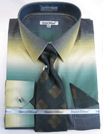 Big Men Size Dress Shirts with Ties Moss Green Blend DE DS3795 - click to enlarge