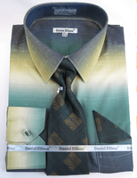 Big Men Size Dress Shirts with Ties Moss Green Blend DE DS3795
