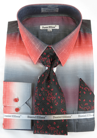 Big Men Size Dress Shirts with Ties Red Color Blend DE DS3795