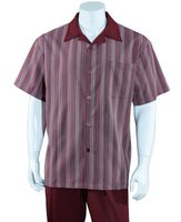 Big Size Mens Leisure Walking Suit Burgundy Stripe 2 Piece Set M2966G