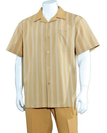 Big Size Mens Leisure Walking Suit Camel Stripe 2 Piece Set M2966G