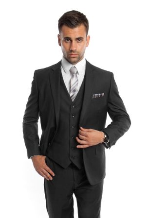 Black 3 Piece Suit Mens Solid Color Regular Fit Tazio M302-01 - click to enlarge