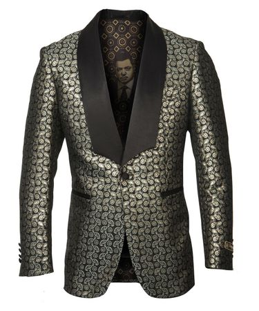 Black Gold Paisley Fashion Blazer Prom Party Wedding ME280H-01