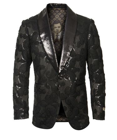 Black Paisley Sequin Tuxedo Jacket Blazer Prom Wedding ME275H-01