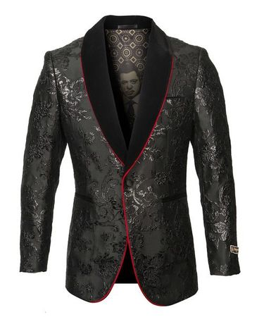 Black Paisley Tuxedo Jacket Velvet Collar Blazer Prom Wedding ME276H-01