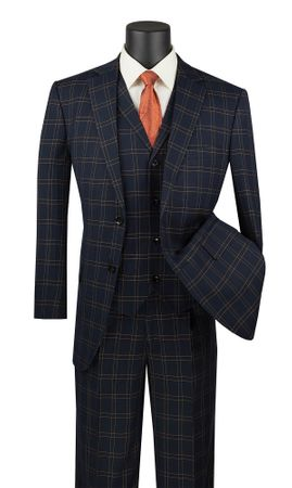 Black Blue Plaid Suit 3 Piece 1920s Lapel Vest Vinci V2PD-1 - click to enlarge
