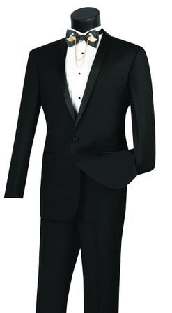 Black Prom Suit for Guys Slim Fit 1 Button Jacket Vinci T-SS