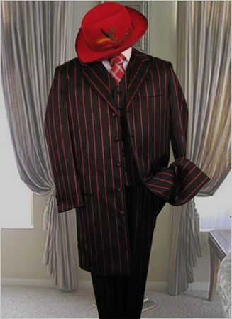 Mens Black Red Stripe Zoot Suit Long Jacket Alberto Zoot-200 - click to enlarge