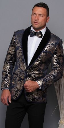 Manzini Men's Navy and Gold Floral Fitted Tuxedo Blazer MZV-517 Bow