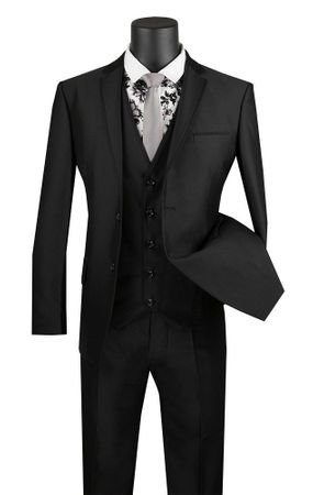 Black Skinny Fitted Prom Suit 3 Piece Fancy Trim USVD-2 - click to enlarge