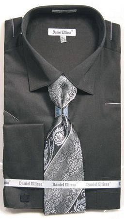 Black Spread Collar Shirt With Ties French Cuffs (100% Cotton) DE DS3798P2