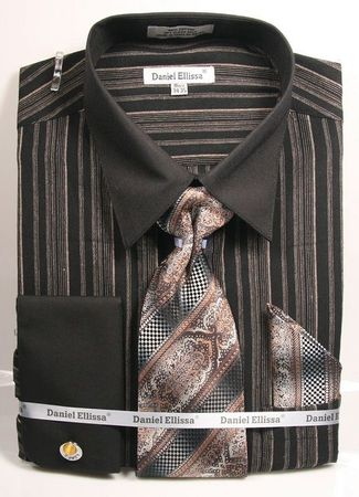 Black Taupe Multi Stripe Shirts with Ties French Cuff DE DS3807P2