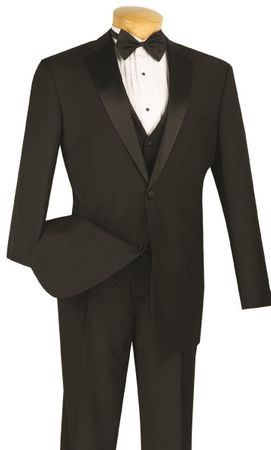 Black Tuxedo Mens 4 Piece Vest Wedding Tux Formalwear Vinci 4TV-1 - click to enlarge