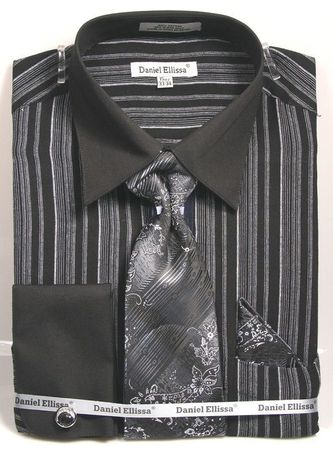 Black White Stripe Shirts with Ties French Cuff DE DS3807P2