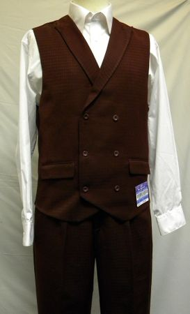 Blu Martini Burgundy Mat Vested Vest and Pants Outfit 5466-075
