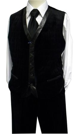 Blu Martini Mens Black Quilted Velvet Vest Outfit IS
