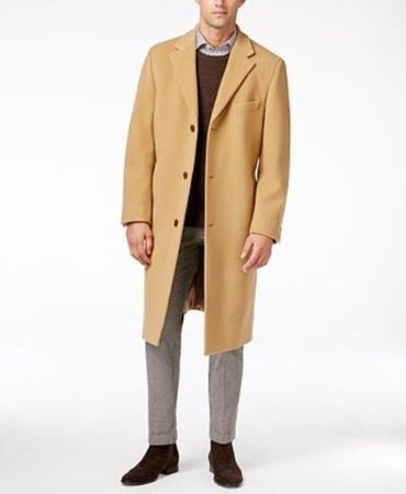 Mens Camel Cashmere Feel Overcoat Knee Length COAT03 - click to enlarge