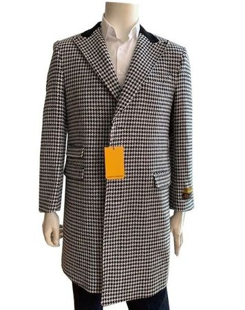 Men's Wool Car Coat Houndstooth Chesterfield Alberto Peaky-03 - click to enlarge