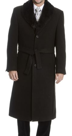 Falcone Mens Black Fur Collar Wool Overcoat 4150-000 Vance IS - click to enlarge