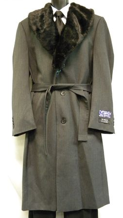 Blu Martini Mens Full Length Fur Collar Gray Belted Top Coat 4172-021 IS - click to enlarge