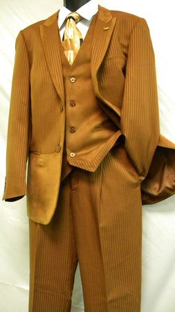 Falcone Rust Suede Vested 3 Piece Fashion Suit 3763-078 Size 44L Final Sale - click to enlarge