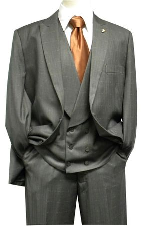 Falcone Mens Gray Mase Shawl Vested 3 Piece Suit 5414-021 42L