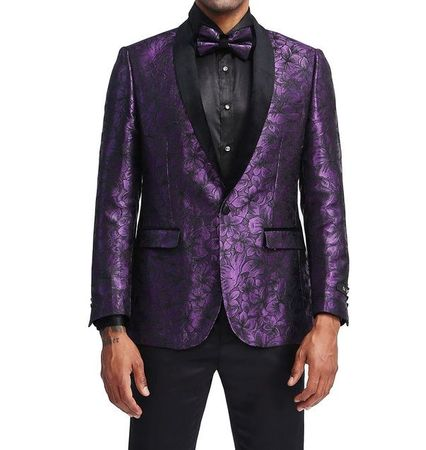 Men's Purple Flower Slim Fit Prom Jacket Matching Bow Tie Tazio MJ336-1