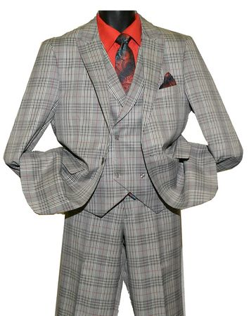 Falcone Grey Plaid 3 Piece Ken Vested 1920s Fashion Suit 5632-050 IS - click to enlarge