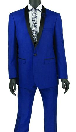 Blue Prom Suit for Guys Fitted 1 Button Jacket Vinci T-SS