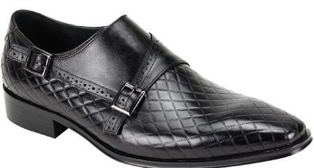 Giovanni Mens Black Monk Strap Diamond Pattern Designer Dress Shoes Jasper