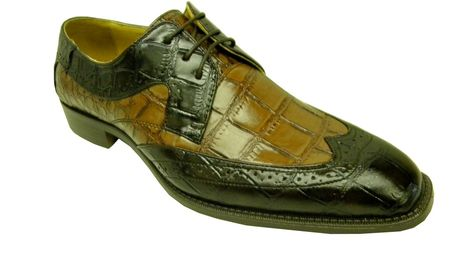 Bolano Mens Brown Brandy Croc Print Wingtip Shoes 5916-065