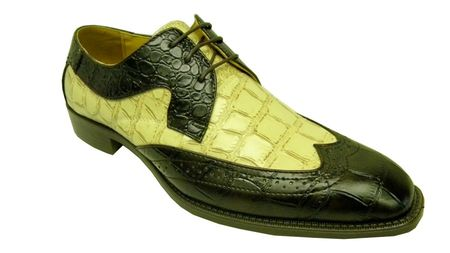 Bolano Mens Brown Cream Croc Print Wingtip Shoes 5916-006 IS